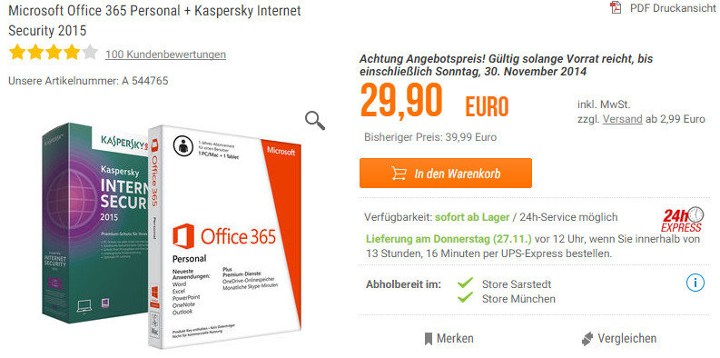 Photo of Office 365 Personal + Kaspersky Security für 30 Euro