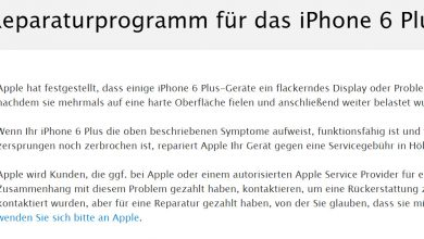 Photo of iPhone 6 Plus: Apple bietet günstigere Reparatur bei Displayproblemen an