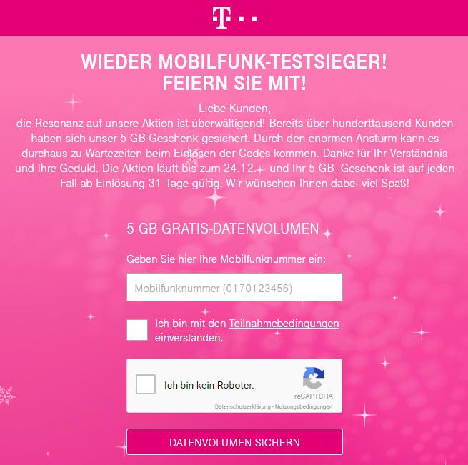 Telekom Kunden Bekommen 5gb Datenvolumen Geschenkt