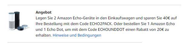 Zwei Amazon Echo Kaufen Und Sparen