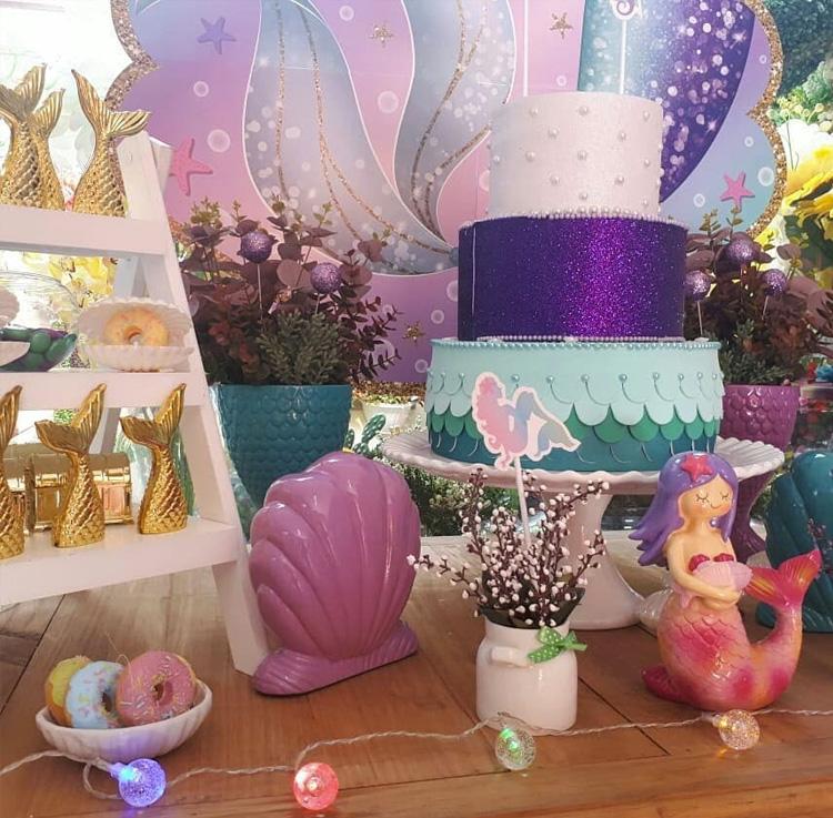 Festa em casa decoração sereia It Mãe