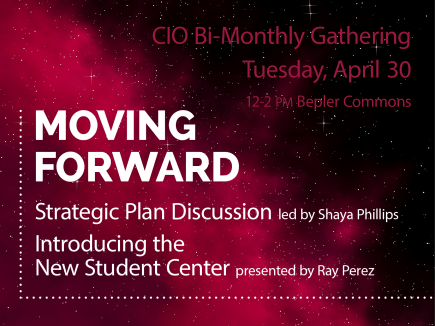 red background CIO 2019 CIO April Moving Forward