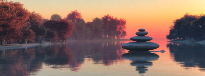 sunset and zen stones
