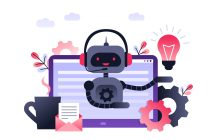 Chatbot business concept. Modern banner for the site. Chatbot, artificial intelligence, customer support, hotline with bot. Ultra violet flat vector illustration with computer on desk.