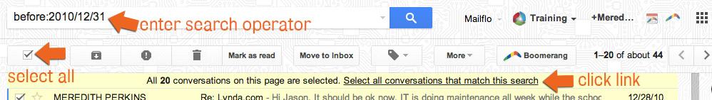 Gmail Date Range