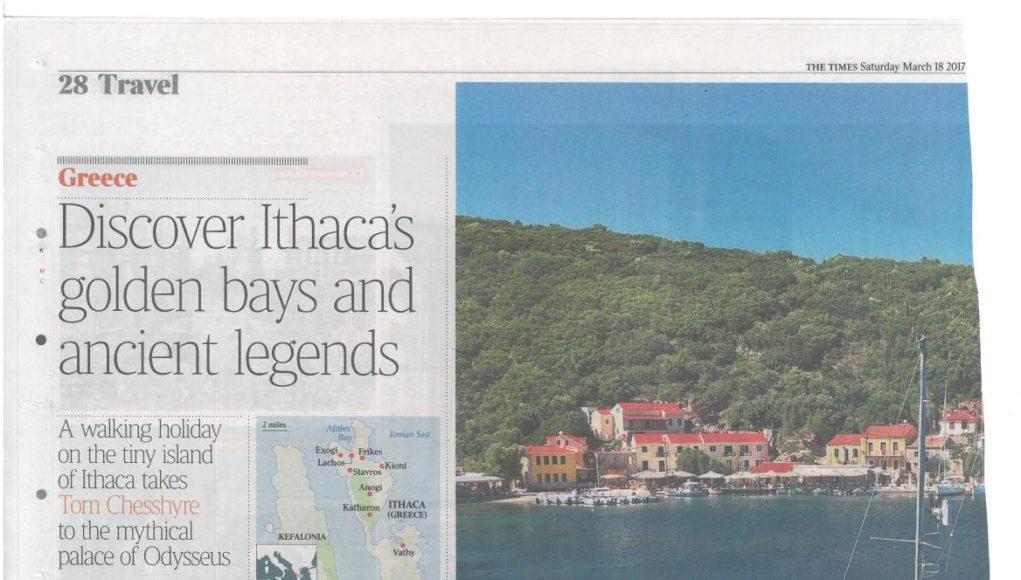 """Ιθάκη και Κεφαλονιά σε αφιέρωμα της Βρετανικής """"Times"""""""