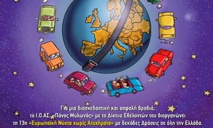Η Περιφέρεια Κεντρικής Μακεδονίας στηρίζει  την «13η Ευρωπαϊκή Νύχτα Χωρίς Ατυχήματα»  το Σάββατο 19 Οκτωβρίου 2019