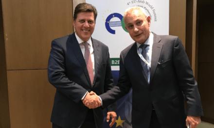 Συνάντηση Αναπληρωτή Υπουργού Εξωτερικών, Μιλτιάδη Βαρβιτσιώτη, με τον Γενικό Γραμματέα της Ένωσης για τη Μεσόγειο (ΕγΜ), Nasser Kamel, στο περιθώριο του 4ου EU Arab Summit (Αθήνα, 29.10.2019)