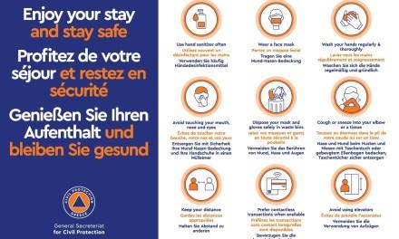 καμπάνια της Γενικής Γραμματείας Πολιτικής Προστασίας σε όλες τις πύλες εισόδου της χώρας που ανοίγουν από 1η Ιουλίου «Enjoy your stay and stay safe»