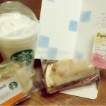 母の日にスターバックスコーヒーのビバレッジカード、カスタマイズドリンク、サンドイッチ、ケーキをいただきました♡