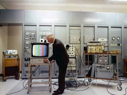A color TV being tested