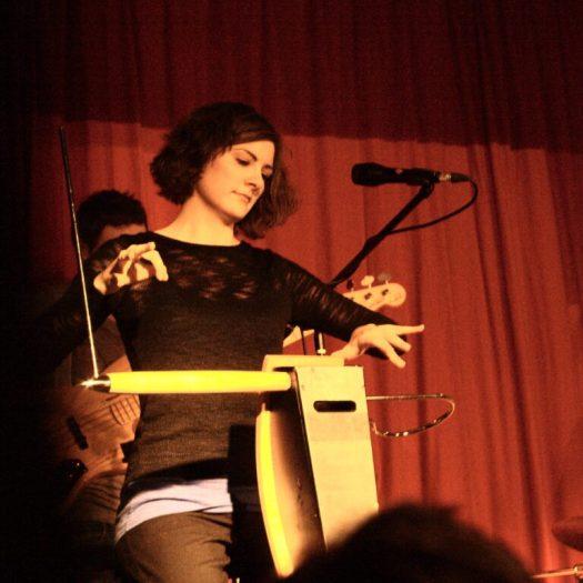 Carolina Eyck playing the theremin