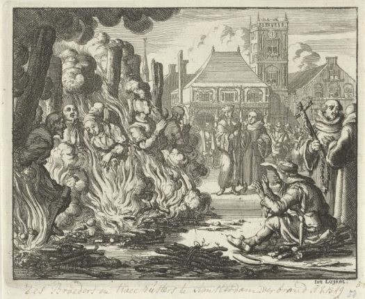 Jan Luyken, Zes mannen en twee vrouwen op de Dam voor het oude stadhuis levend verbrand (Six men and two women burned alive on the Dam in front of the old town hall), 1549