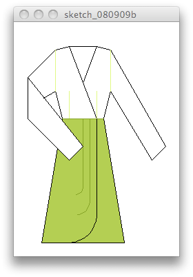 Processing sketch of a dress pattern diagram