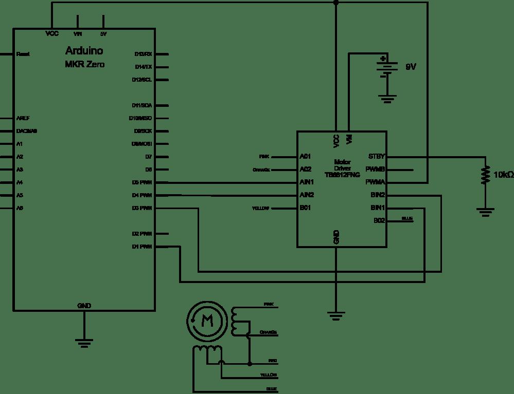 medium resolution of schematic of tb6612 h bridge controlling a stepper