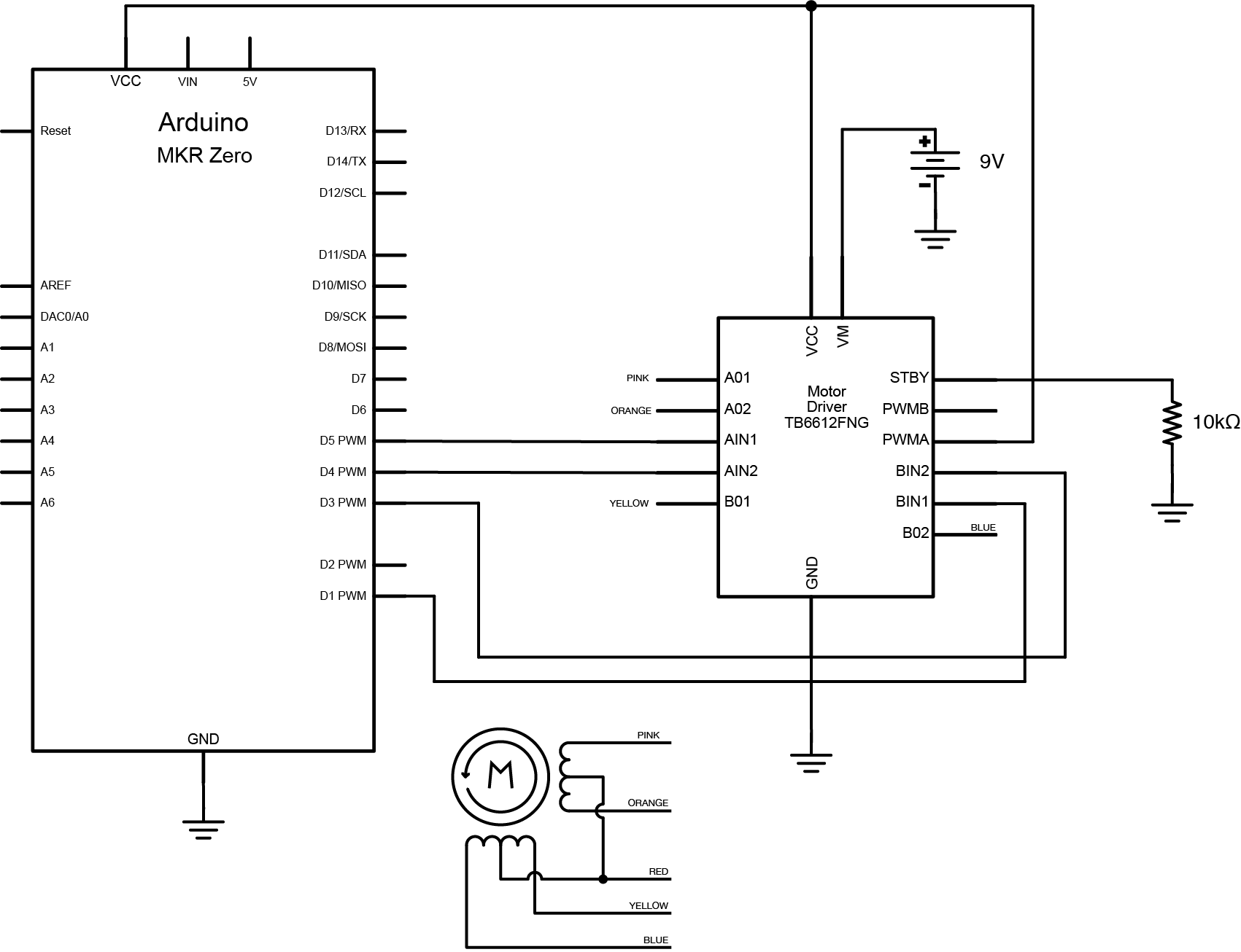 hight resolution of schematic of tb6612 h bridge controlling a stepper