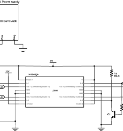 schematic drawing of a unipolar stepper motor connected to an h bridge and an arduino [ 1442 x 566 Pixel ]