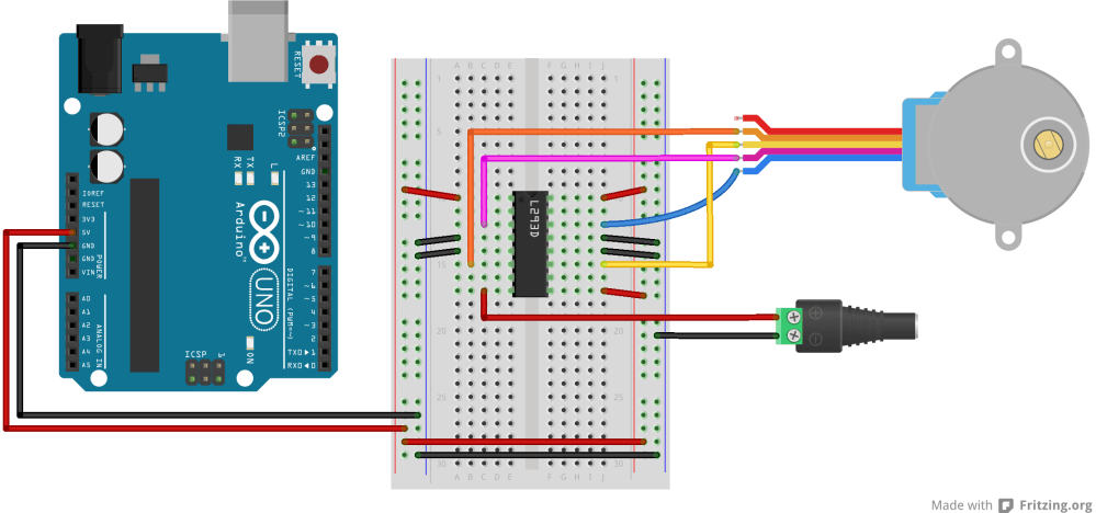 medium resolution of breadboard view of an h bridge connected to an arduino for driving a stepper motor