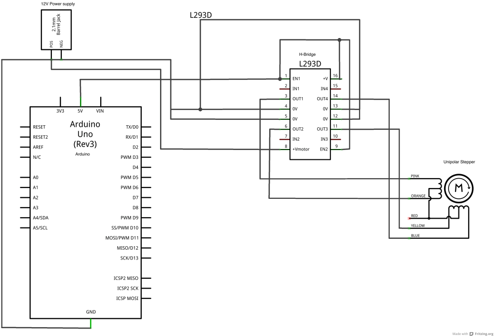 medium resolution of schematic drawing of an h bridge connected to an arduino for driving a stepper motor