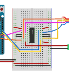 breadboard drawing of an h bridge and stepper motor connected to an arduino similar [ 2223 x 1041 Pixel ]