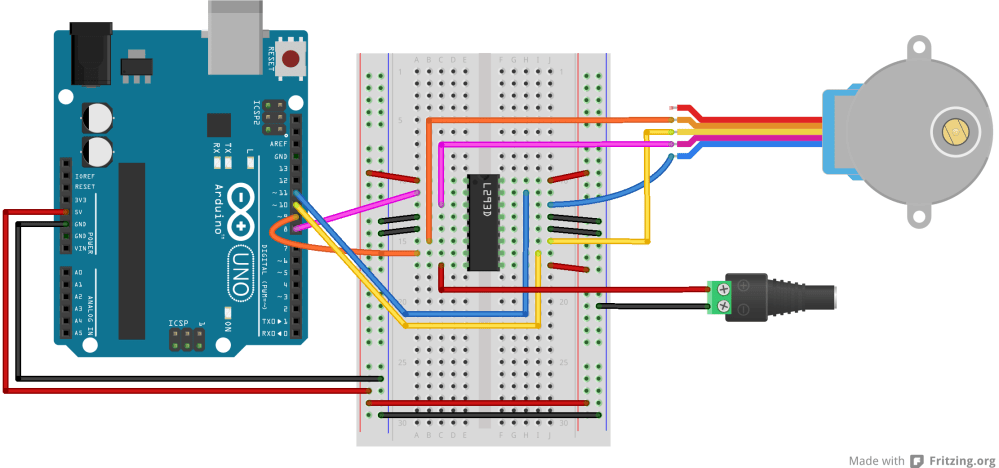 medium resolution of breadboard drawing of an h bridge and stepper motor connected to an arduino similar