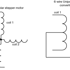4 Wire Dc Motor Connection Diagram Solar Street Light Wiring Controlling Stepper Motors Itp Physical Computing Drawing Of The For A Unipolar Showing Two Variations In