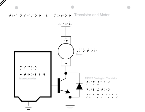 schematic of transistor and motor