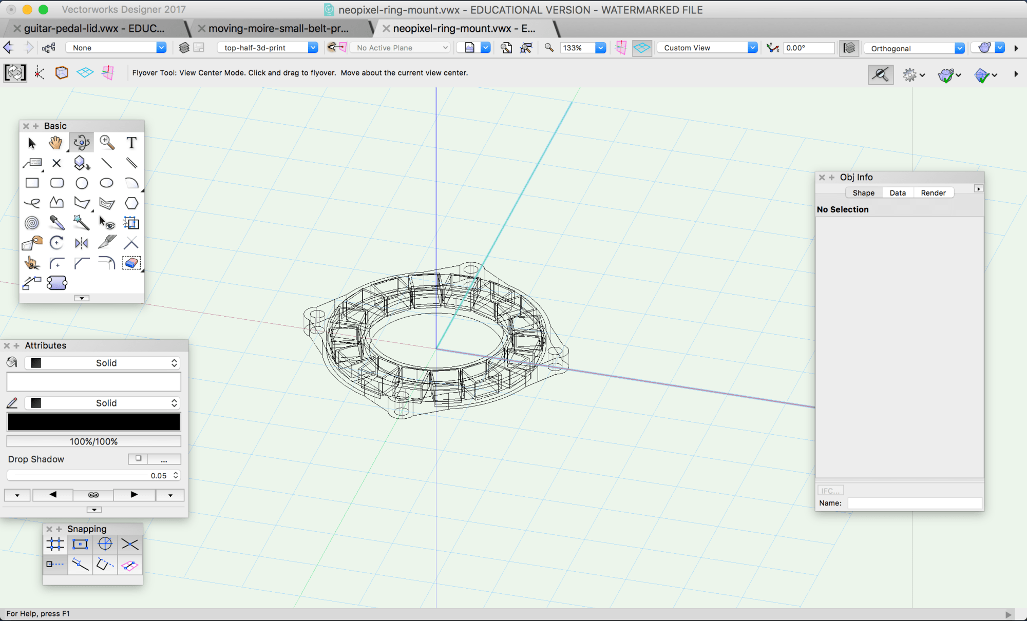 hight resolution of modeling the neopixel ring mount in vectorworks