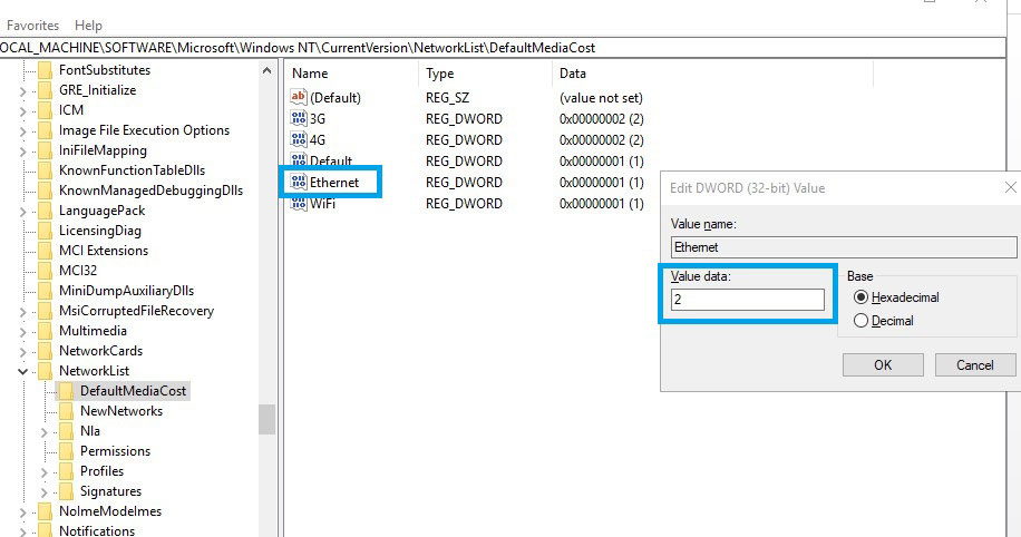 Windows modules installer worker change ethernet value with 2