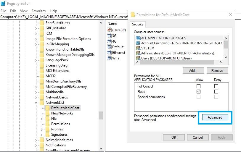 Windows modules installer worker regedit defaultmediacost permission Advanced
