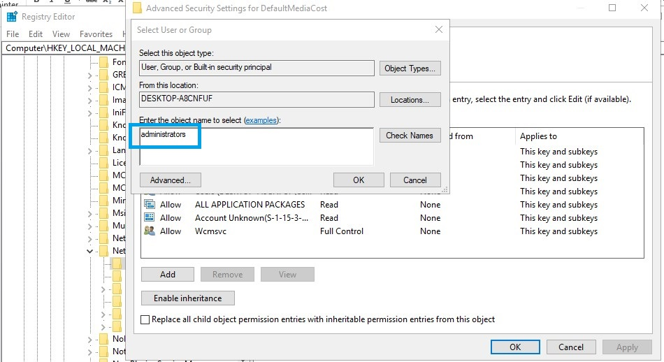 Windows modules installer worker regedit defaultmediacost permission change to administrators