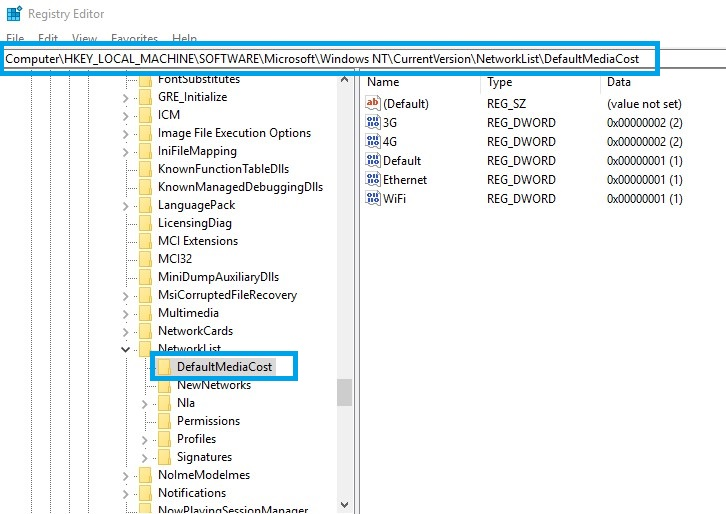Windows modules installer worker regedit defaultmediacost