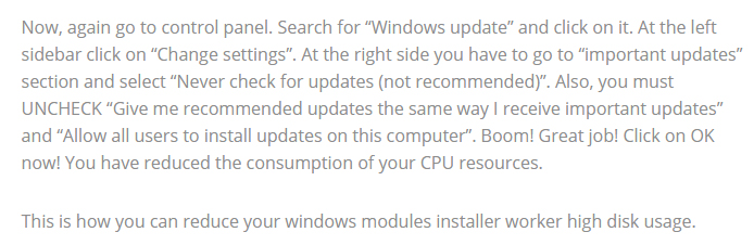 windows modules installer worker conclusion