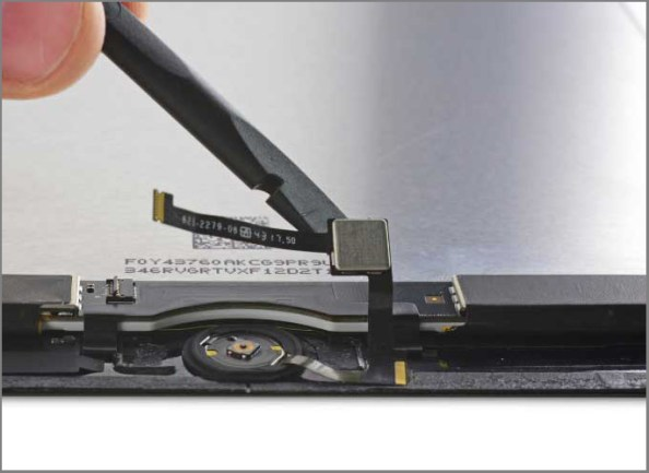 iPad air 2 screen replacement - Step 39 - peel up the Touch ID control chip and Home button ribbon cable