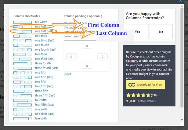 WordPress Column Select Column Width and Padding