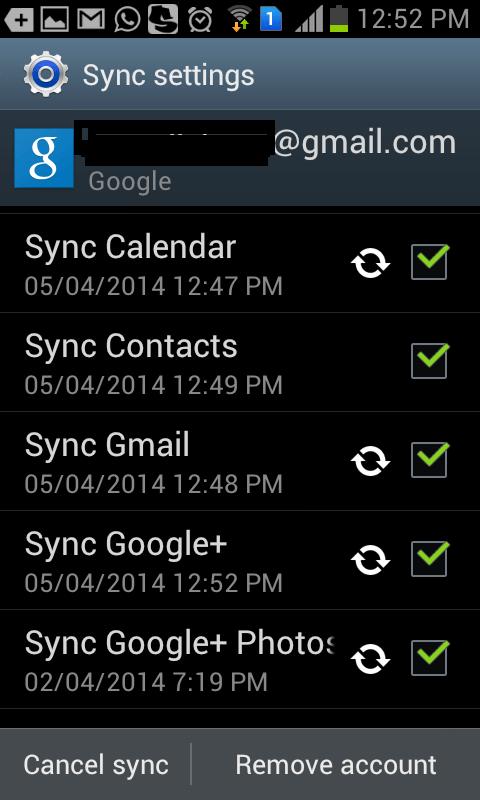 Sync settings(