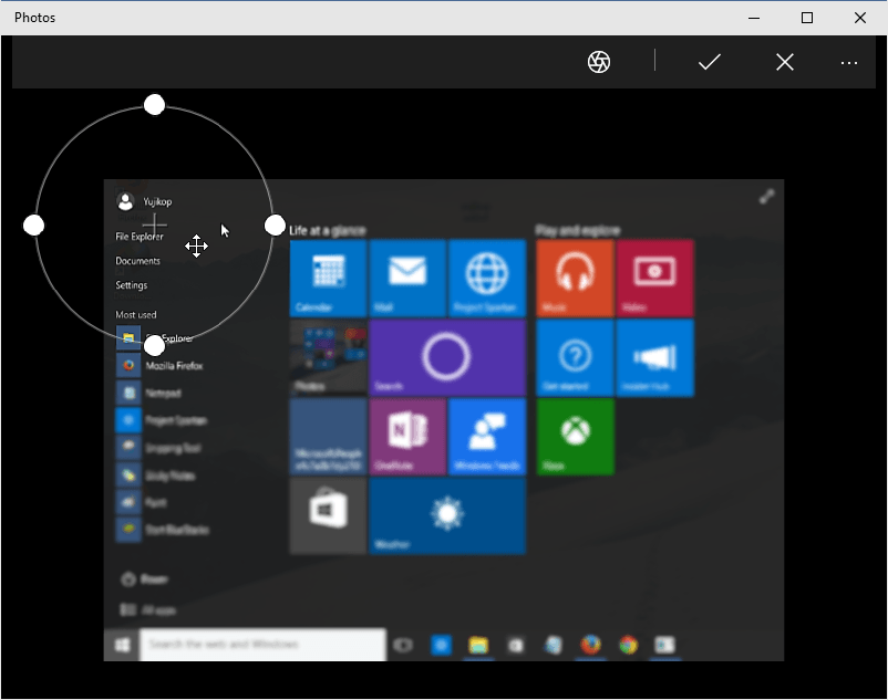 efek focus gambar Photos Windows 10 fokus lensa