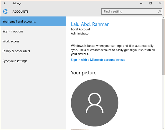 Jenis akun (account) Windows 10