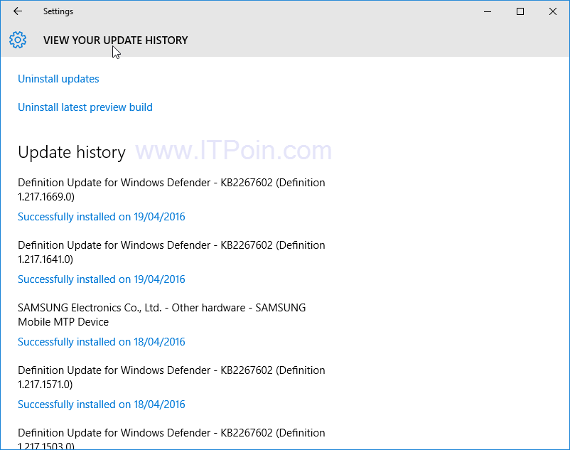 Update history Windows 10
