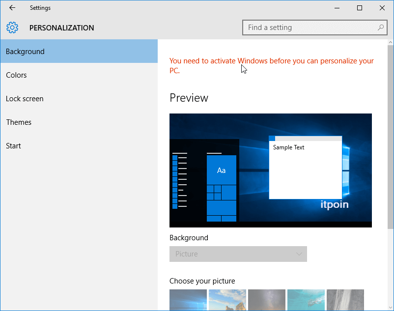 Activate Windows before you can personalize