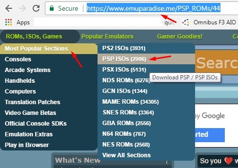 Download ISO PPSSPP di Emuparadise