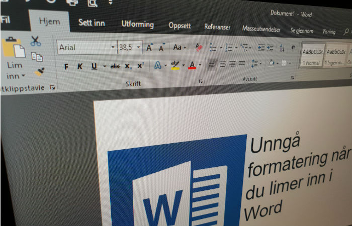 Unngå formatering når du limer inn i Word