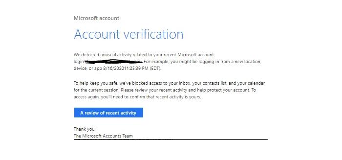 Skjermdump av en ondsinnet e-post