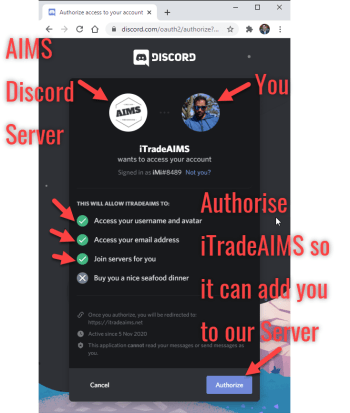 Authorise AIMS Bot to add you to our server.