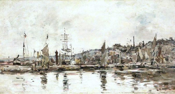 Honfleur port painted by Boudin
