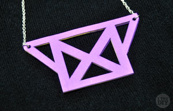 I Try DIY   Geometric Cutout Bib Necklace