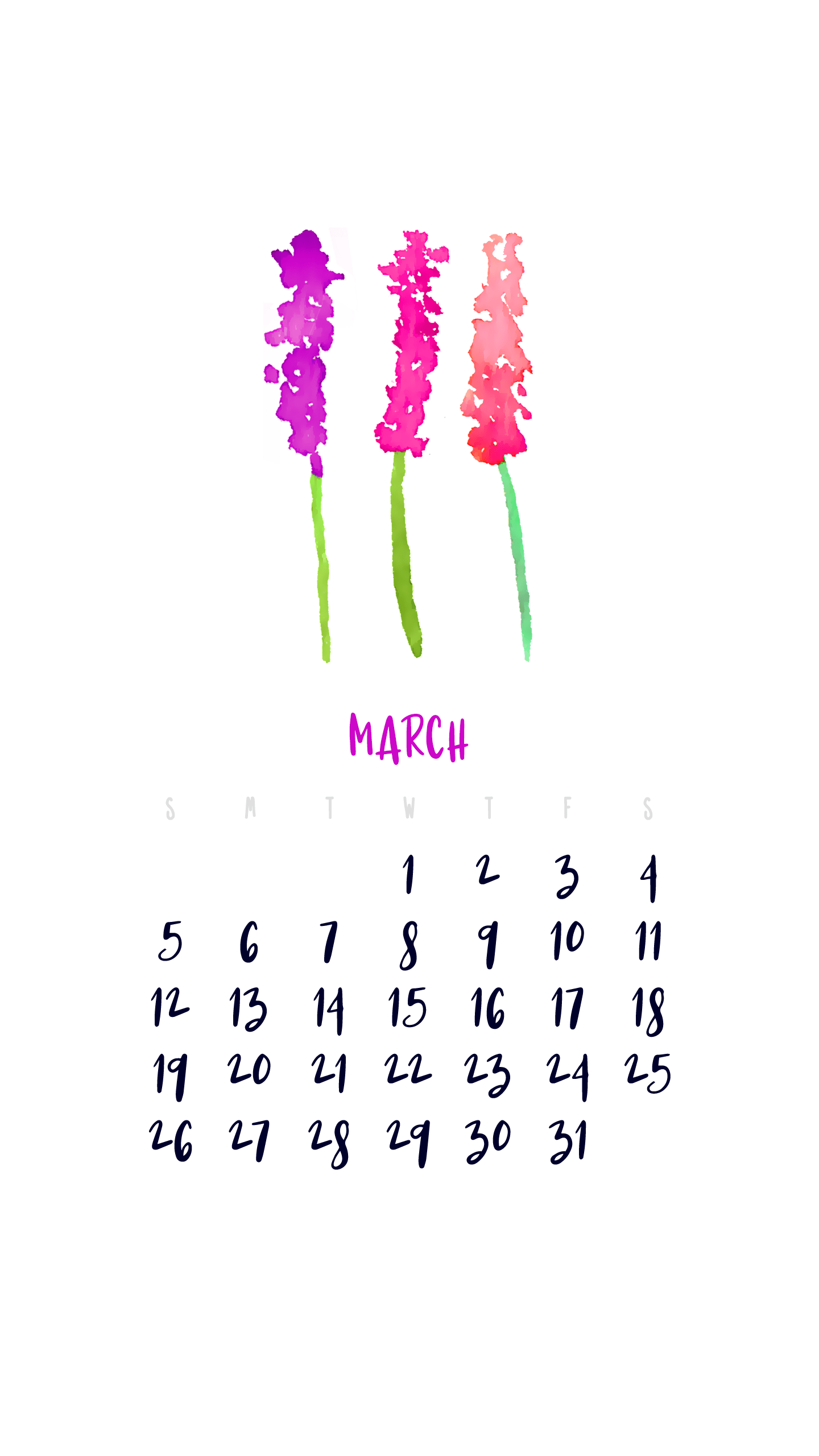 March 2017 Smartphone Wallpaper Calendar I Try Diy