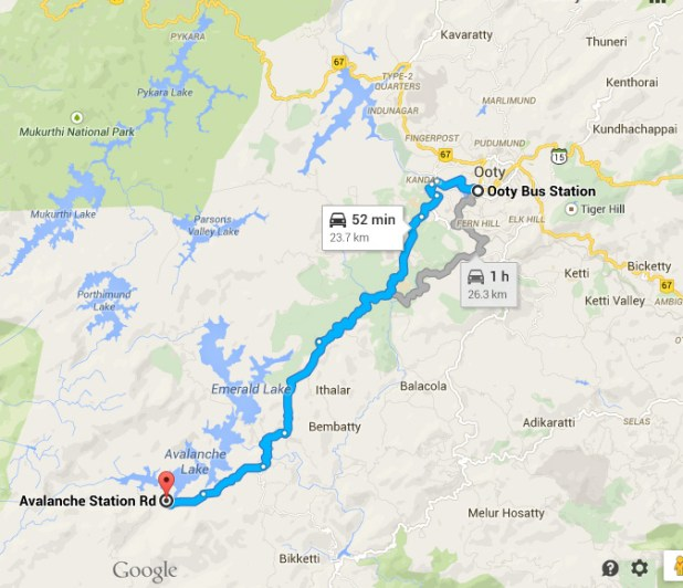 Drive direction from Ooty Bus station