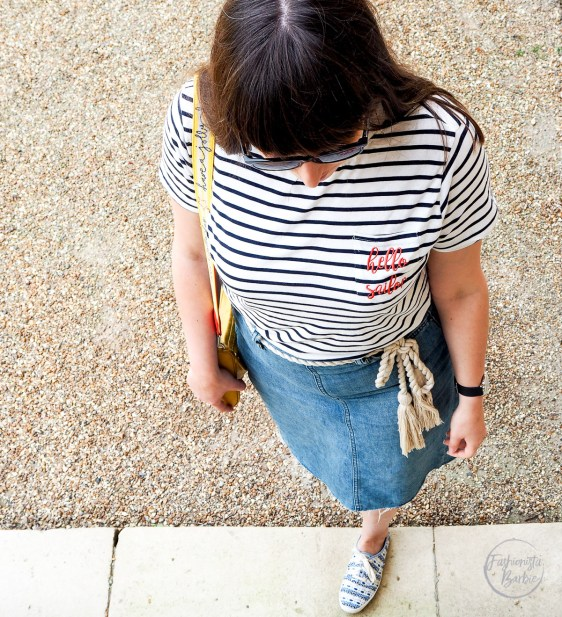 summer uniform,denim skirt, gap,sugarhill boutique, fashionista barbie, style post, style blogger, fashion blogger uk, blogger uk, cath kinston, stripes, how to wear a denim skirt, how to style stripes,cambridge