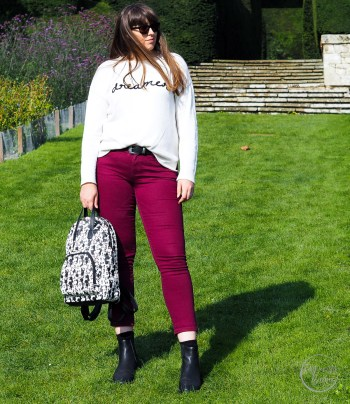 coloured jeans, capsule wardrobe, denim, berry jeans, jeans, gap, gap outlet, matalan, autumn style, how to wear coloured jeans, colored jeans